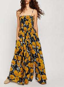 Free People | Black Mix Floral Sophia Smocked Top Jumpsuit | NWT XS, S, L, XL