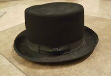 "Mens CUSTOM MADE BEE HATS ""topper"" FEDORA top HAT CAP Size LARGE wool black"