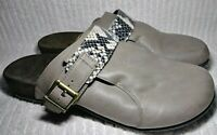 Vionic Womens Orthaheel Clogs 11 Mules Shoes Snakeskin TVW4418 Gray Beige Buckle