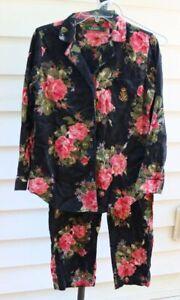 Lauren Ralph Lauren Black Pink Rose Floral Flannel Pajamas Set Size Small EUC!