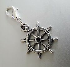Sacred Wheel of Dharma dharmacakra Silver Clip Charm pendant Love path Nirvana