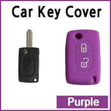 CAR KEY COVER SILICONE CASE HOLDER PEUGEOT 207 307 308 407 REMOTE FLIP Purple