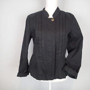 loft ann taylor,BLAZER,SUIT,Jacket SZ 12 black cotton zip new g1