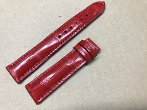 19mm/16mm Genuine Padded Alligator Crocodile Leather Watch Strap Band -Red