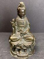 "Antique 19th C. Chinese Brass Bronze Kwan yin Bodhisattva statue 6.5"" Tall 2 lbs"