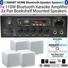 110W Bluetooth Verstärker & 4x 80W weiß Regal Lautsprecher-kompakte WIRELESS HIF...