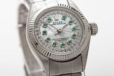 Estate $6000 Emerald Diamond MOP Genuine ROLEX Ladies Oyster Watch & BOX & WTY