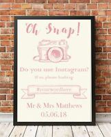 Instagram Wedding Sign A4 Poster Print PO8 Pink