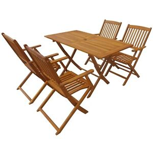 Folding Outdoor Dining Set Garden Patio Rectangular Wooden Table with 4 Chairs