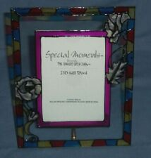 Stained Glass Style Floral Multi-Colored Glass Photo Picture Frame 3.5x5