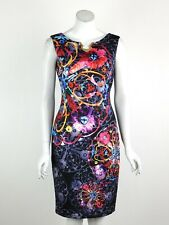 Joseph Ribkoff Dress Sleeveless Gold Metal Detail Multicolor Print Size 8 New