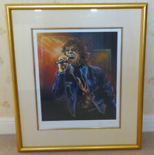 RONNIE WOOD HAND SIGNED FRAMED LIMITED EDITION PRINT OF MICK JAGGER 24/75 RARE