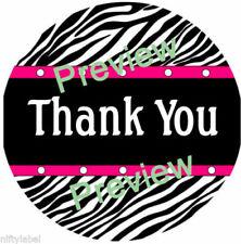 Black Zebra With Pink Trim Design 1 Thank You Sticker Labels Optional Sizes