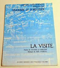 Partition vintage sheet music MAXIME LE FORESTIER : La Visite * 80's
