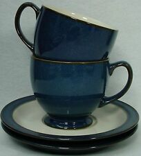 """DENBY china BOSTON pattern CUP & SAUCER Set Cup 3"""" set of TWO (2)"""