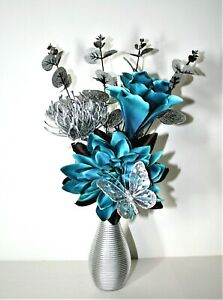 Artificial Flowers, Teal Silver Flower Arrangement in Small Silver Vase