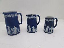 3 Antique 19th Century Graduated Dark Cobalt Blue Wedgwood Jasperware Jugs