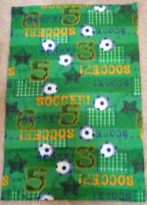 FLEECE FABRIC- Juvenile Print - Soccer Scoreboards and Balls Stars Green -1yd 9""