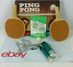 Ping Pong Set Parker Brothers 1965 Net Frames Paddles Handbook