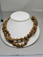 Vintage Wood Bead Necklace 48 Inches Long Detail on Beads