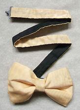 Nuevo De Lujo Seda Corbata de Moño Bowtie Crema Dorada de Hombre Brillante BNWOT + + Calidad Superior