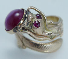 14K Yellow Gold Art Nouveau High Quality 4.86ct Star Ruby Catfish Vintage Ring