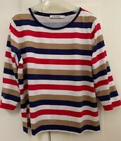 Sportscraft wide multi stripes cotton print 3/4 sleeve TEE, size S, NEW w/ tag.