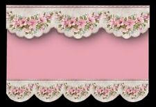 PINK/GREY FLORAL  DESIGN  BLIND / CURTAIN / DRAPE FOR DOLLS HOUSE-BY SYLVIA ROSE
