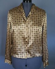Laura Scott Blouse Womens 16W Multi Color Satin Long Sleeve Button Front Career