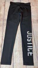 Justice 7 8 10 Black Dri Fit Athletic Leggings Silver Glitter Logo NEW