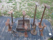 9 pc Vintage Rusty Cast Iron Metal Cobbler Shoe Anvil Shoe Last good for decor