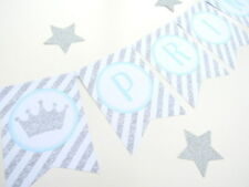 Blue Crown & Silver Glitter Little Prince First 1st Birthday/Baby Shower Bunting