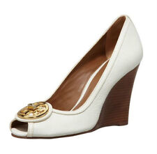 Tory Burch Selma Open-Toe Logo Wedge White Size 10.5