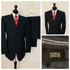 Marks & Spencer Mens Suit 42R 38W 31L Dark Navy Blue Pinstripe Formal GR880