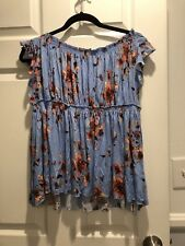 NWT Free People Small Off The Shoulder Floral Blouse Sky Combo Blue Peasant