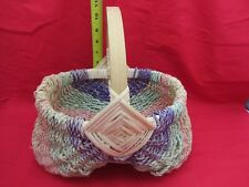 "Vtg Multi-Color Primitive Woven Basket Splint Buttock Medium 9"" Gathering Egg"
