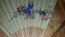 VINTAGE CHINESE FAN WITH BEAUTIFUL PAINTED SCENE DEPICTION MEASURES 13 INCHES
