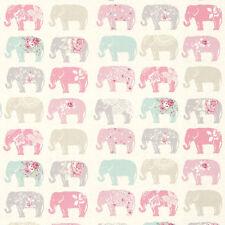 Remanente De Tela 100% algodón, 50cm X 40cm Studio G elefantes Pastel