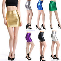 Women Elastic Shiny Leather Bodycon Pencil Short Mini Skirt Short Pencil Skirts