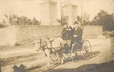 Posing in an Burro-Drawn Cart at the City Gates in St. Augustine FL RP Postcard