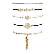 5 teiliges Armband Set Armreif Modeschmuck Vintage Boho Indi Elegant Gold Fein