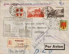 LETTRE PAR LIAISON AIR FRANCE PARIS MONTREAL CANADA RECOMMANDE 1950
