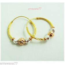 3 Tone 18K 22K 24K THAI BAHT YELLOW GOLD GP HOOPS EARRINGS JEWELRY E_178