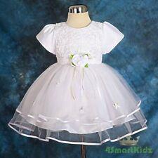 White Infant Baby Dress Flowergirl Flower Girl Wedding Party Size 1 FG182