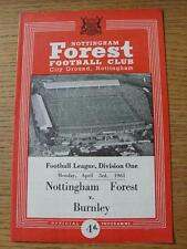 03/04/1961 NOTTINGHAM FOREST V Burnley modifiche DEL TEAM ()