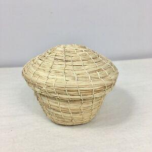 Hand Made Grass Basket With Lid Boho Decor Farmhouse Country Chic Storage