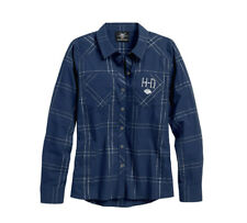 Harley-Davidson® Women's Metallic Windowpane Plaid Shirt Long Sleeves 96224-18VW