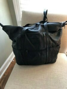 Tumi Weekender Black Leather Bag