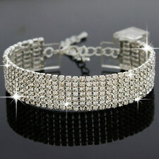 Diamante Rhinestone Crystal Tennis Bracelet Silver Bridal Jewellery Bridesmaid