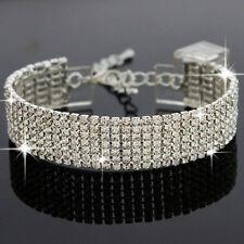 Diamante Rhinestone Crystal Tennis Bracelet Silver Bridal Jewellery Bridesmaid